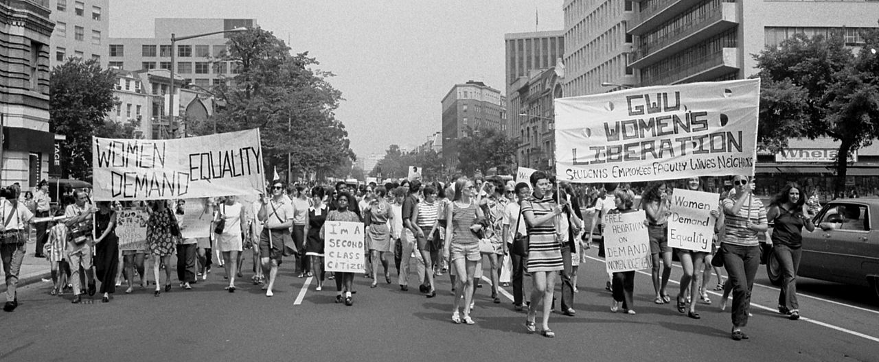 Protest march of members of the American Women's Liberation movement.