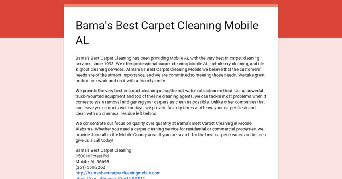 Bama S Best Carpet Cleaning Mobile Al