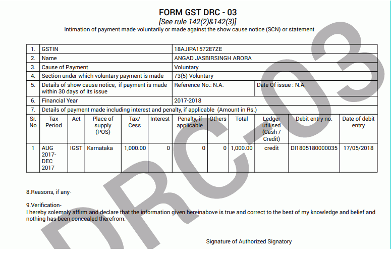 GST Form DRC 03: Applicability & Procedure for Intimating Voluntary