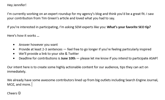 Influencer marketing hub's collaboration email example