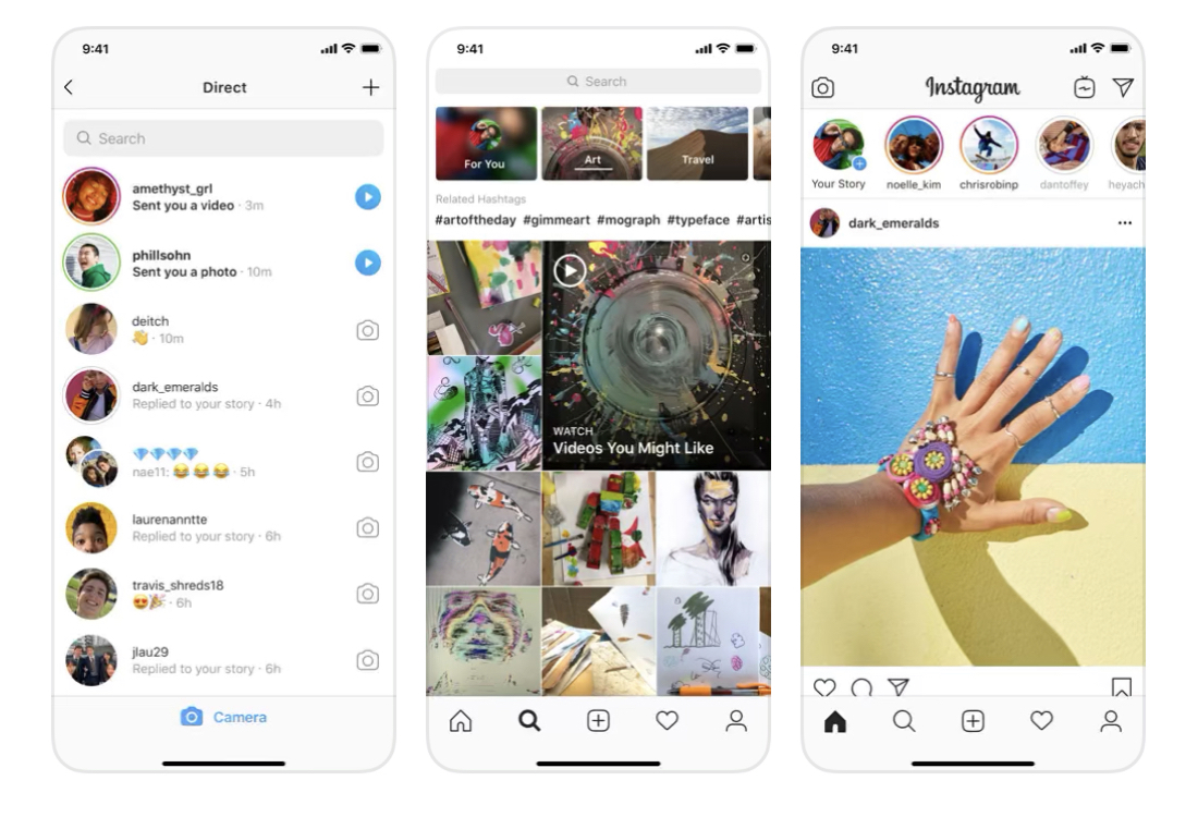Instagram presentation screen