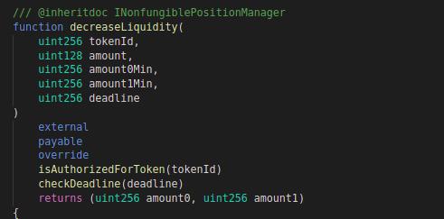 Code block for decreaseLiquidity function