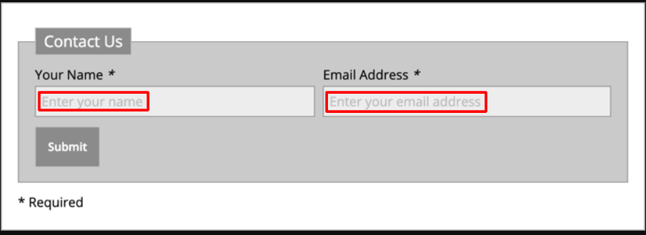email placeholders