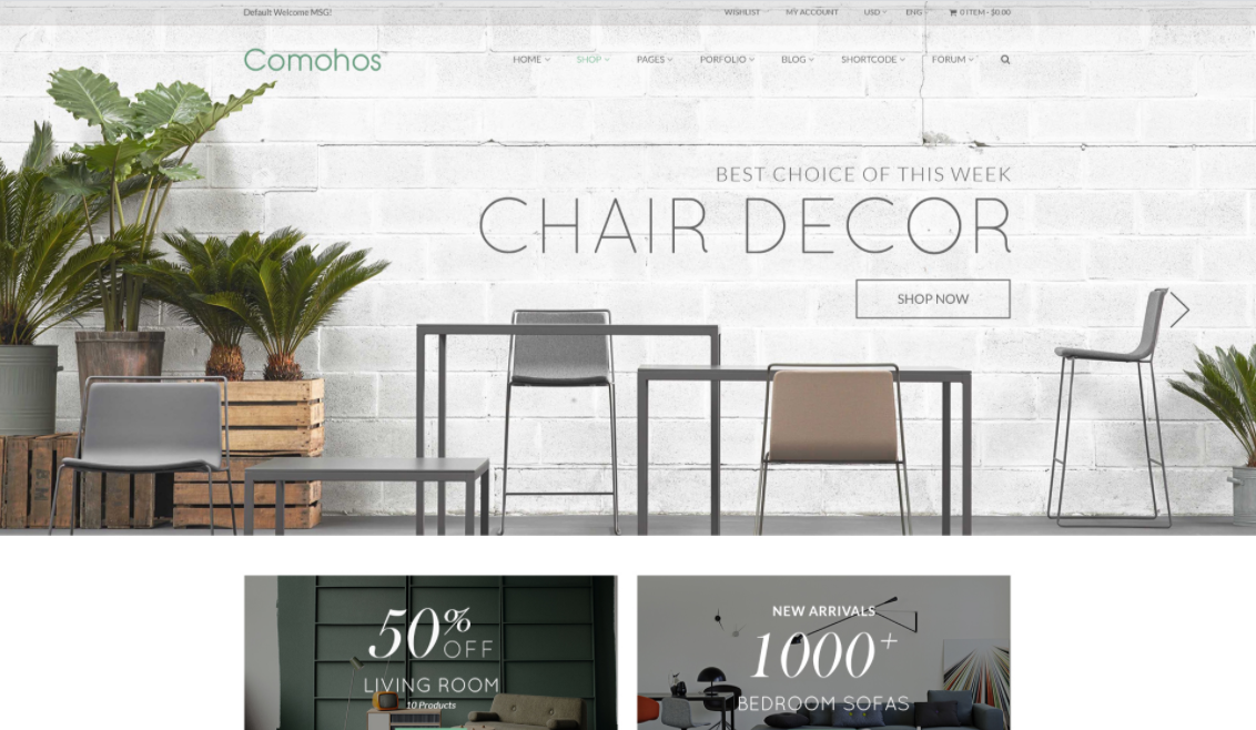 Opencart furniture theme comohos