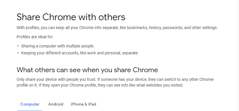 Google Chrome split personalities