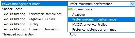Power Management mode option in the Nvidia Control panel
