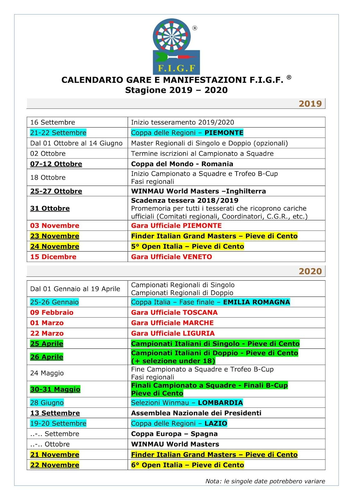 CALENDARIO GARE E MANIFESTAZIONI F.I.G.F.