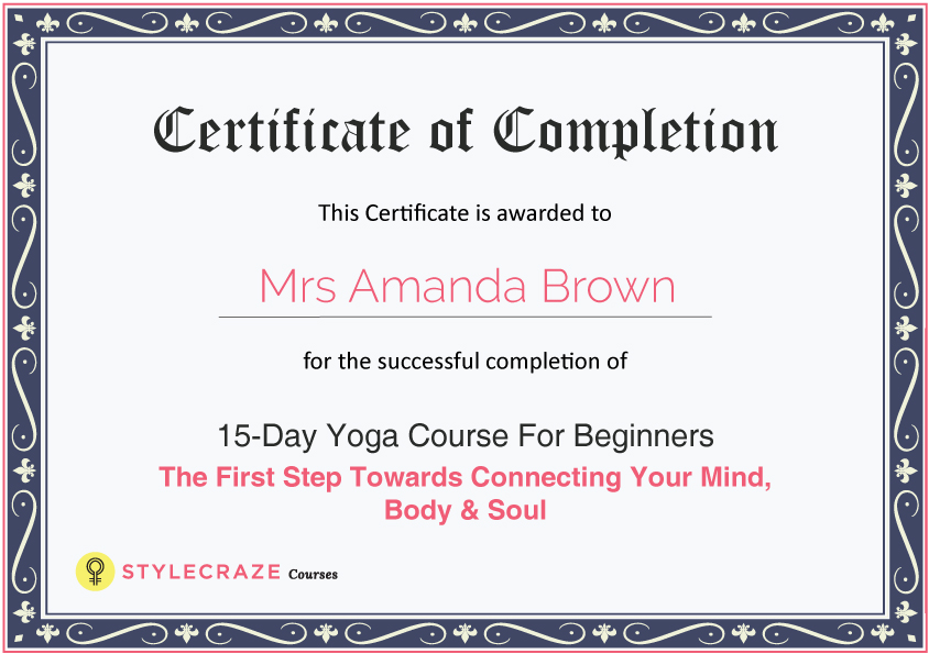 15 day yoga course for beginners stylecraze courses - Yoga Certificate Template