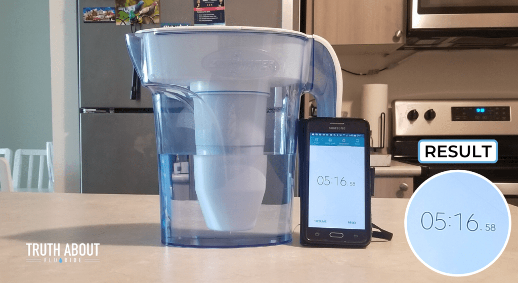 zerowater filter filtration speed tested, 5 minutes and 16 seconds