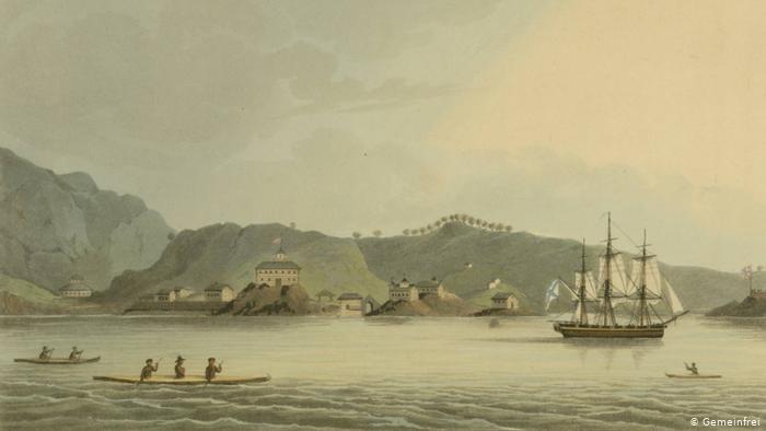 Шлюп Нева у берегов острова Кадьяк. Рисунок Юрия Лисянского