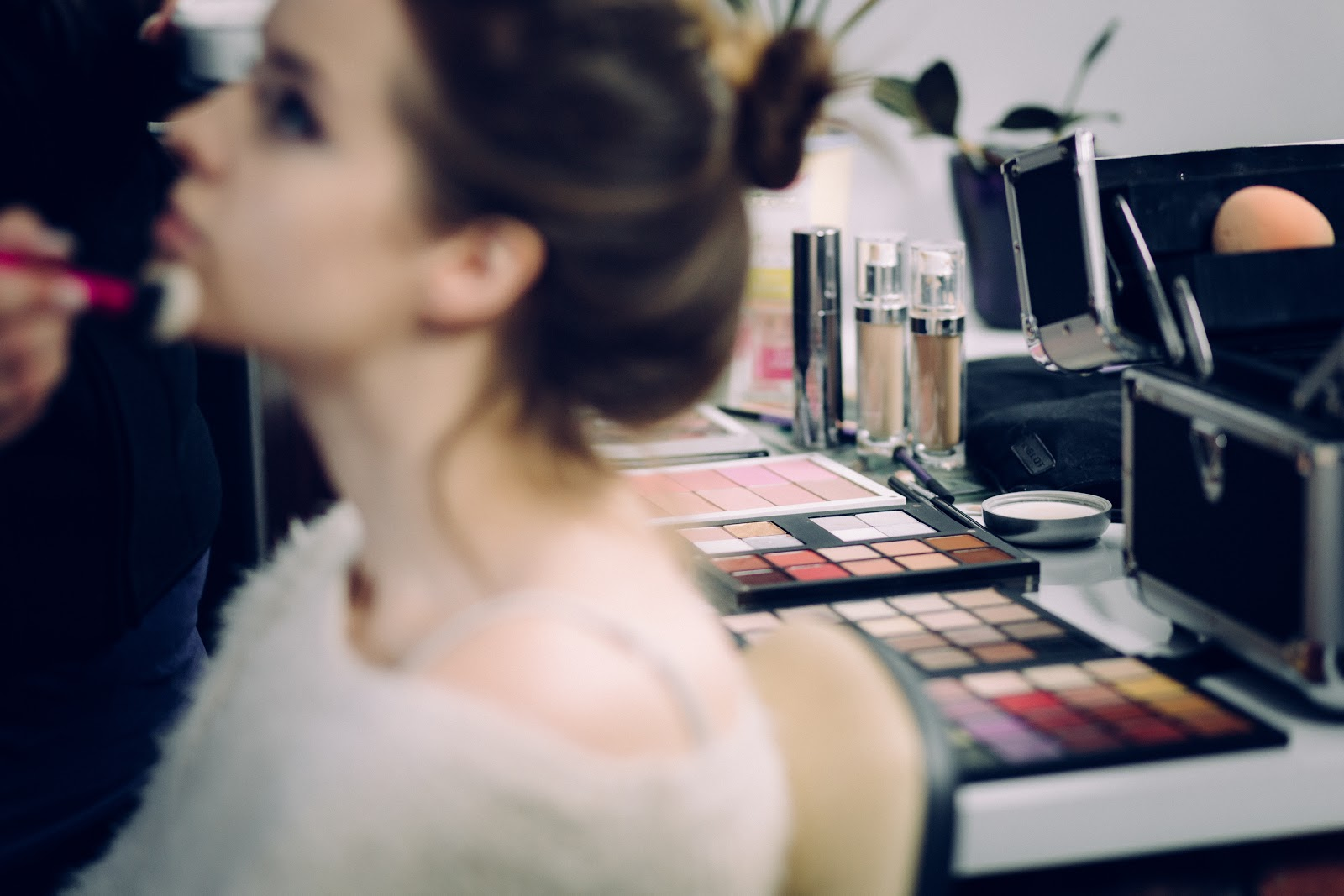 A photo showing a make-up studio's range of make-up colours.
