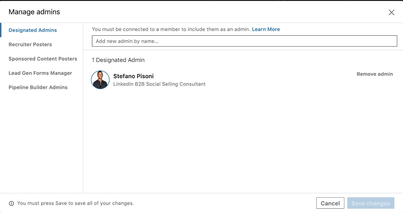 amministratore pagina LinkedIn