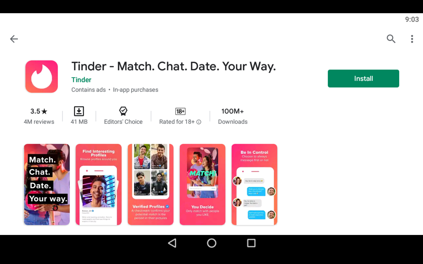 Tinder App on PC
