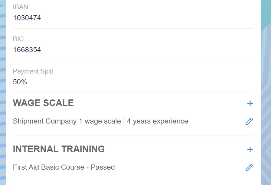 Screenshot of Martide website showing the wage scale and internal training sections