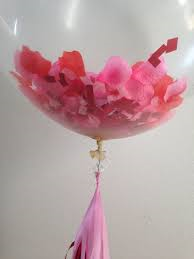 Rose petals in a balloon