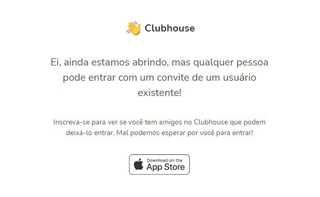 Print da tela inicial do site clubhouse