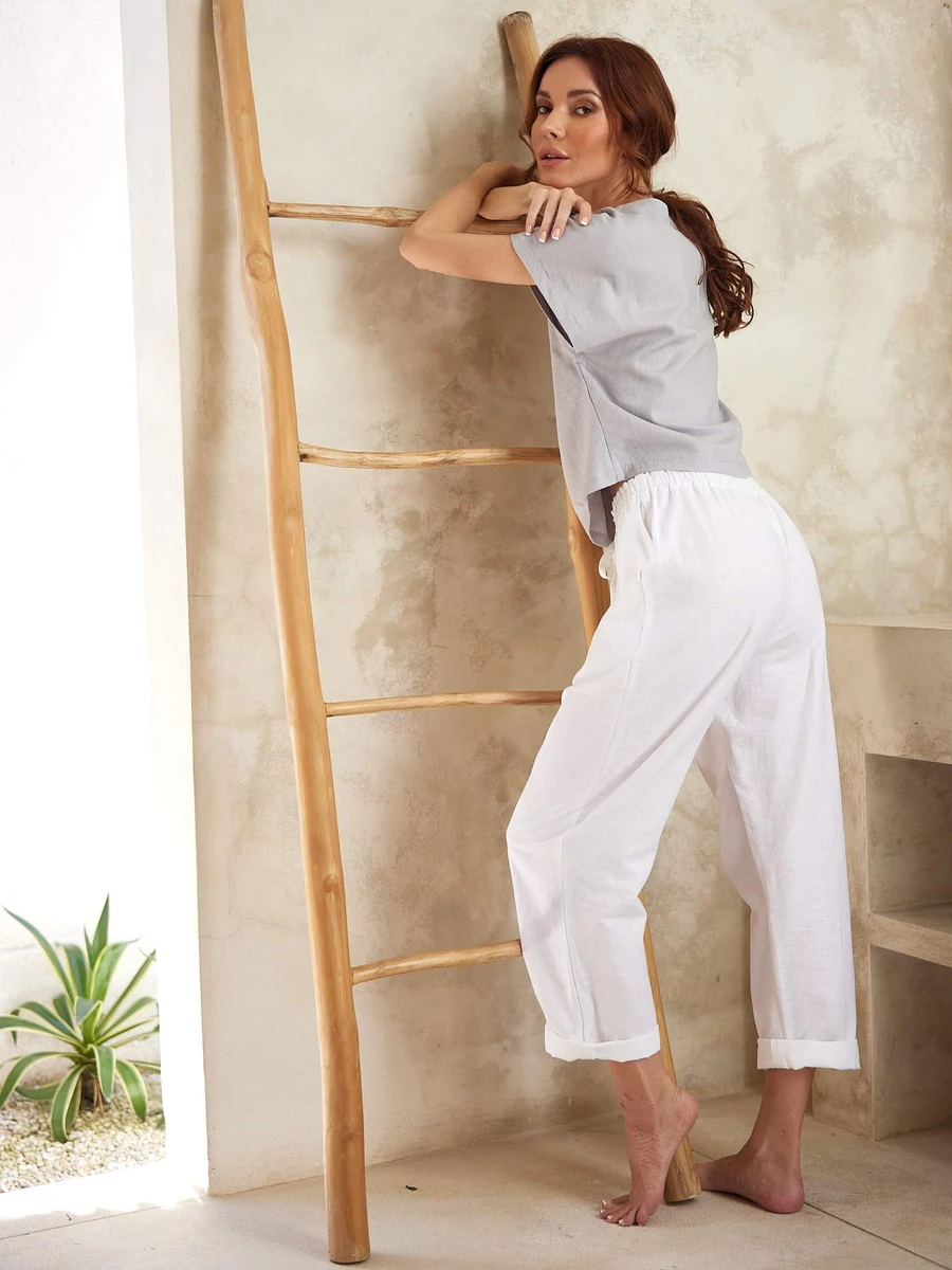 Loose Linen House Pants in White