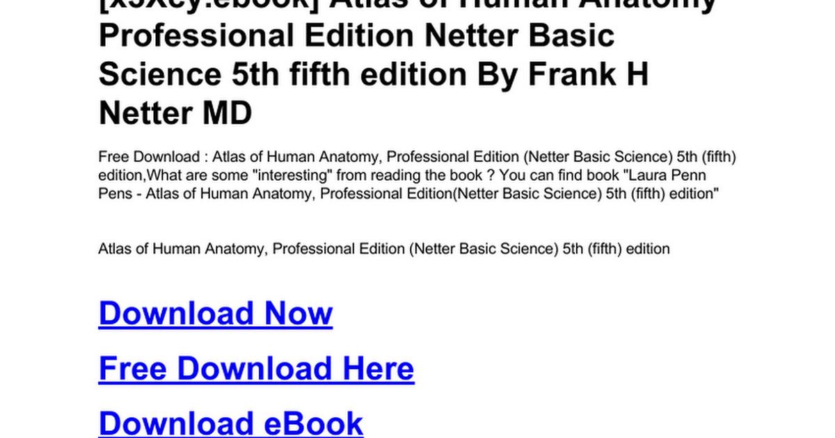 Berühmt Netter Atlas Der Menschlichen Anatomie Kostenlos ...