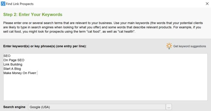 enter keywords link assistant