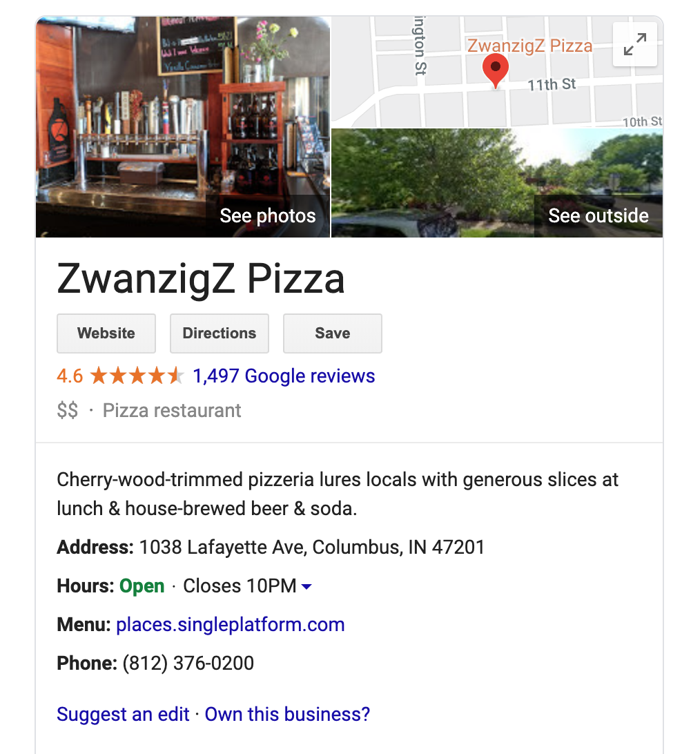 A screenshot of a Google My Business page for ZwanzigZ Pizza.