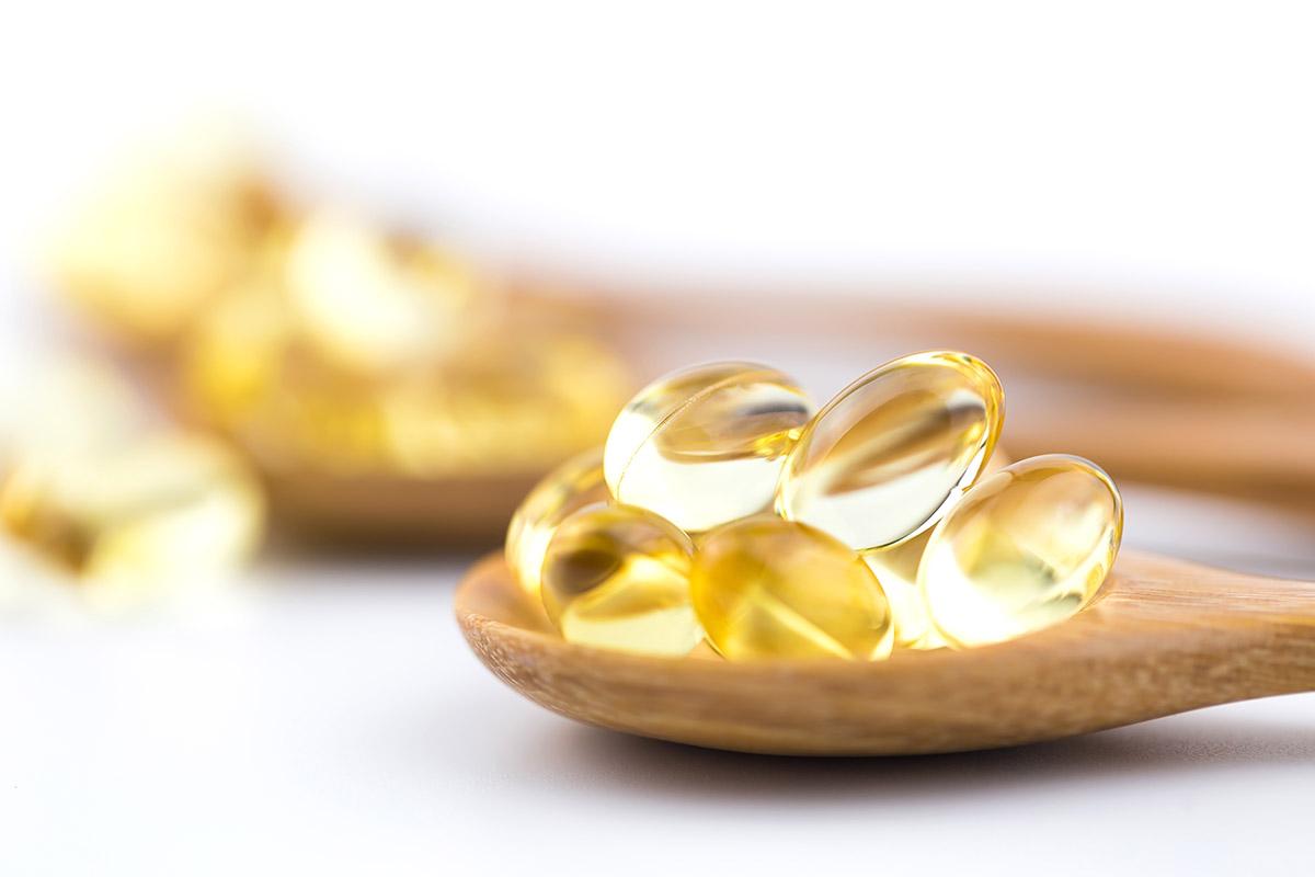 Close-up photo of omega-3 fatty acid supplements