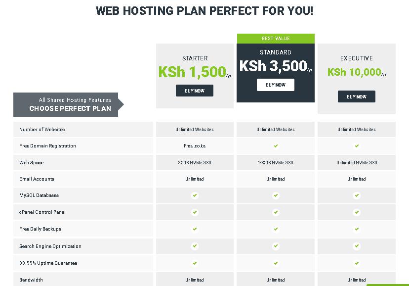 HostPinnacle Kenya web hosting plans
