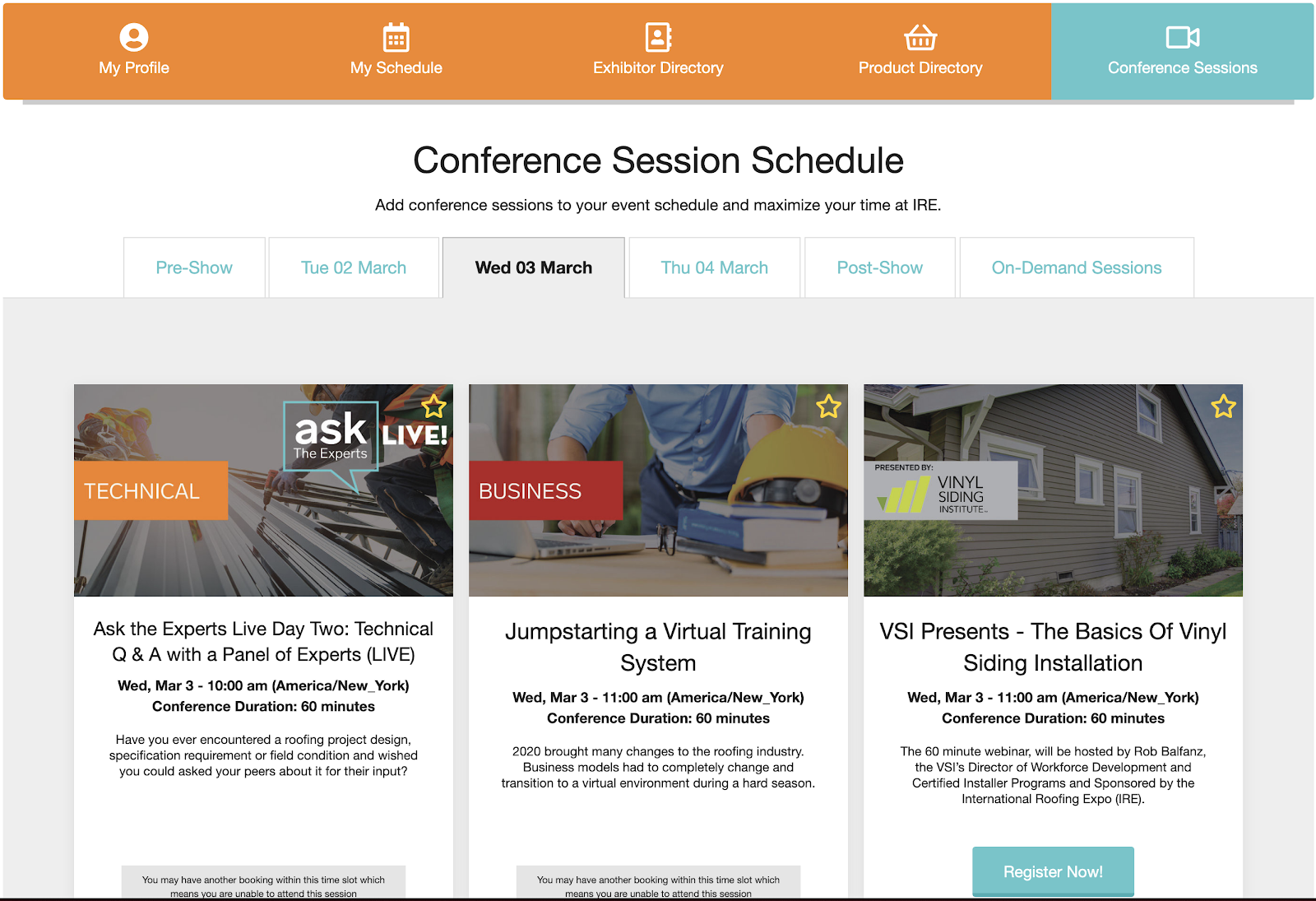 An example of a virtual trade show schedule.