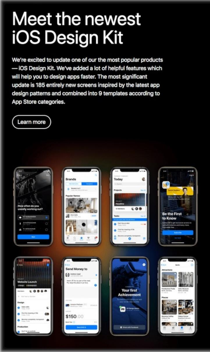 Apple email example for iOS Design Kit