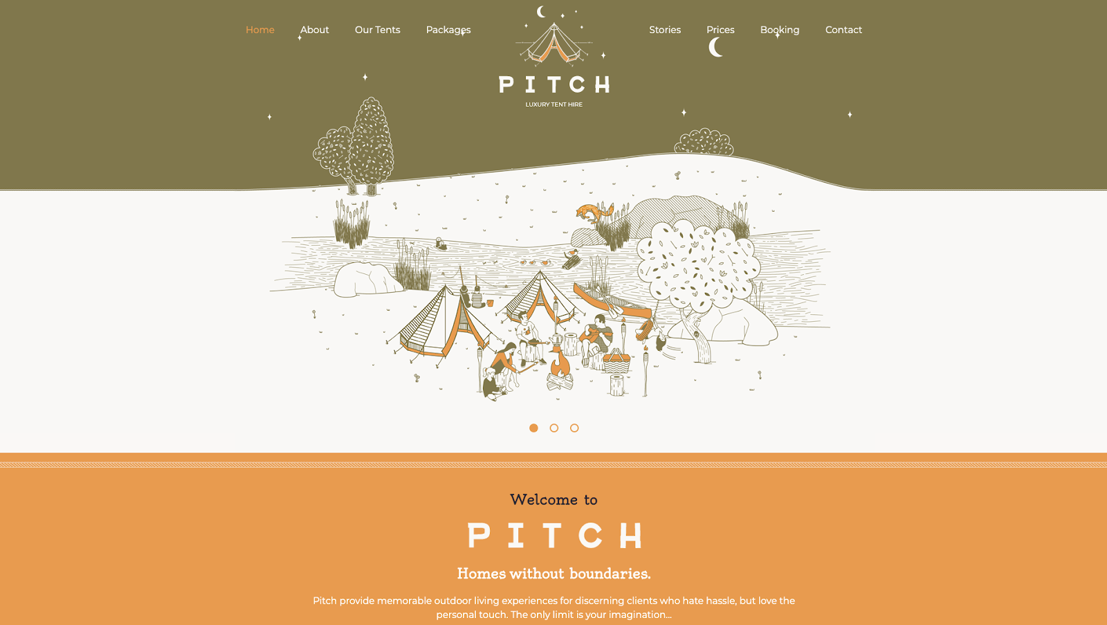 London-based Pitch uses illustrative website design to tell people about their luxurious camping tents.