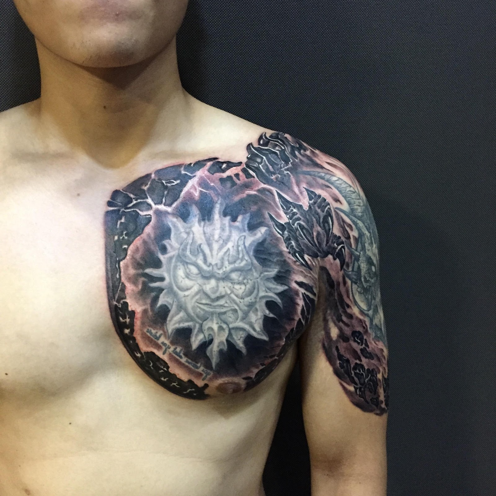 A tattoo of a person wearing a costume  Description automatically generated