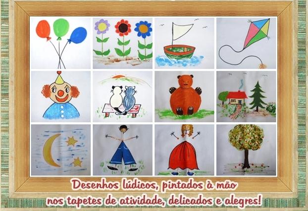 Estes eram alguns dos motivos pintados à mão, que participavam da composição do tapete de atividades pintado. São pinturas lúdicas, retratando o contexto infantil, do dia a dia, da criança, da rotina. Era algo muito carinhoso, delicado e pensado para a criança.