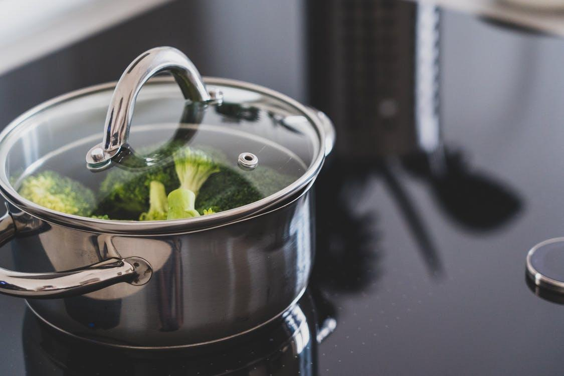 Broccoli in Stainless Steel Cooking Pot