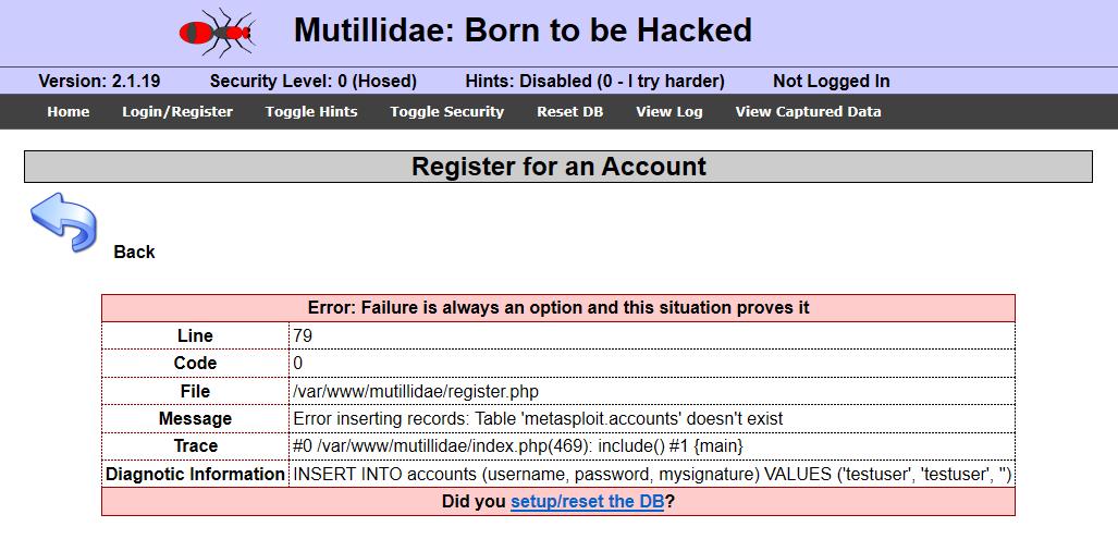 Mutillidae database error. Source: nudesystems.com