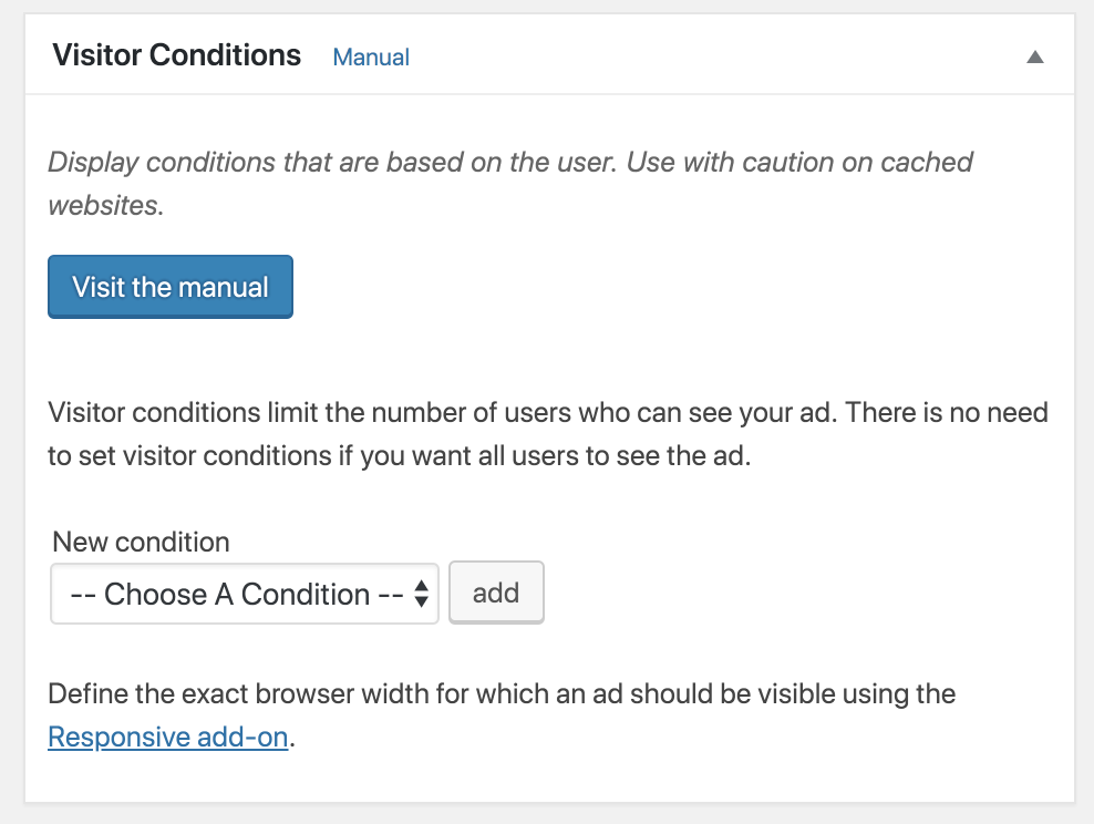 Advanced Ads visitor conditions.