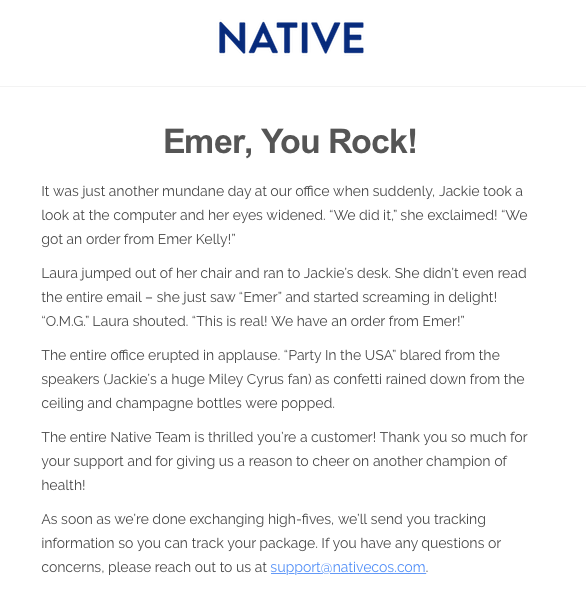 Awesome email copy by Native