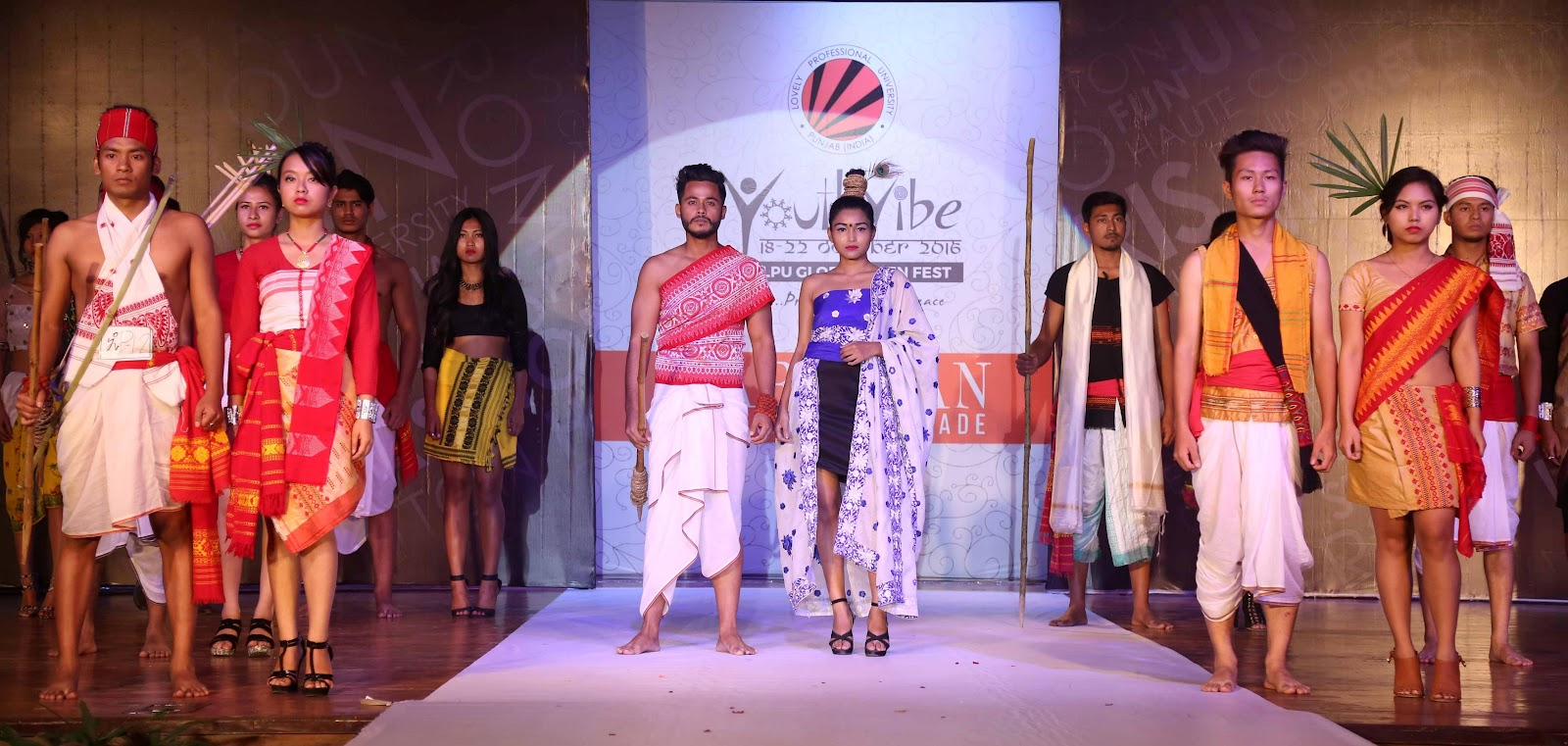 Students participating in a Paridhan Fashion Show competition during concluding day of Youth Vibe fest at LPU (3).JPG