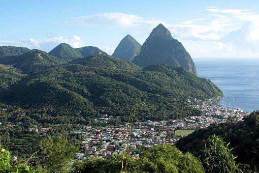 Caribbean, Mountains, Vul, St Lucia