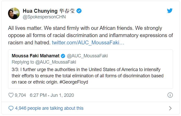 Lợi dụng cái chết của người Mỹ da đen và phong trào Black Lives Matter (Người da đen đáng được sống), ngày 1/6, phát ngôn viên Bộ Ngoại giao Trung Quốc Hoa Xuân Oánh đã tweet.