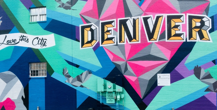 brightly colored mural in Denver, CO