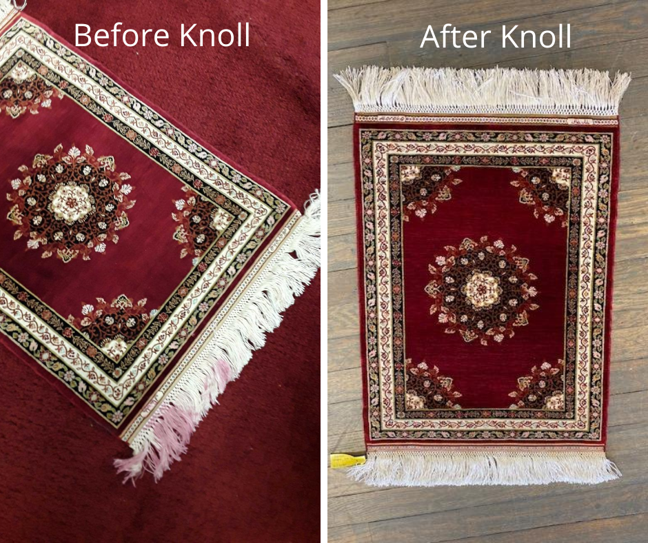 Damaged area rug before and after, Hammond Knoll