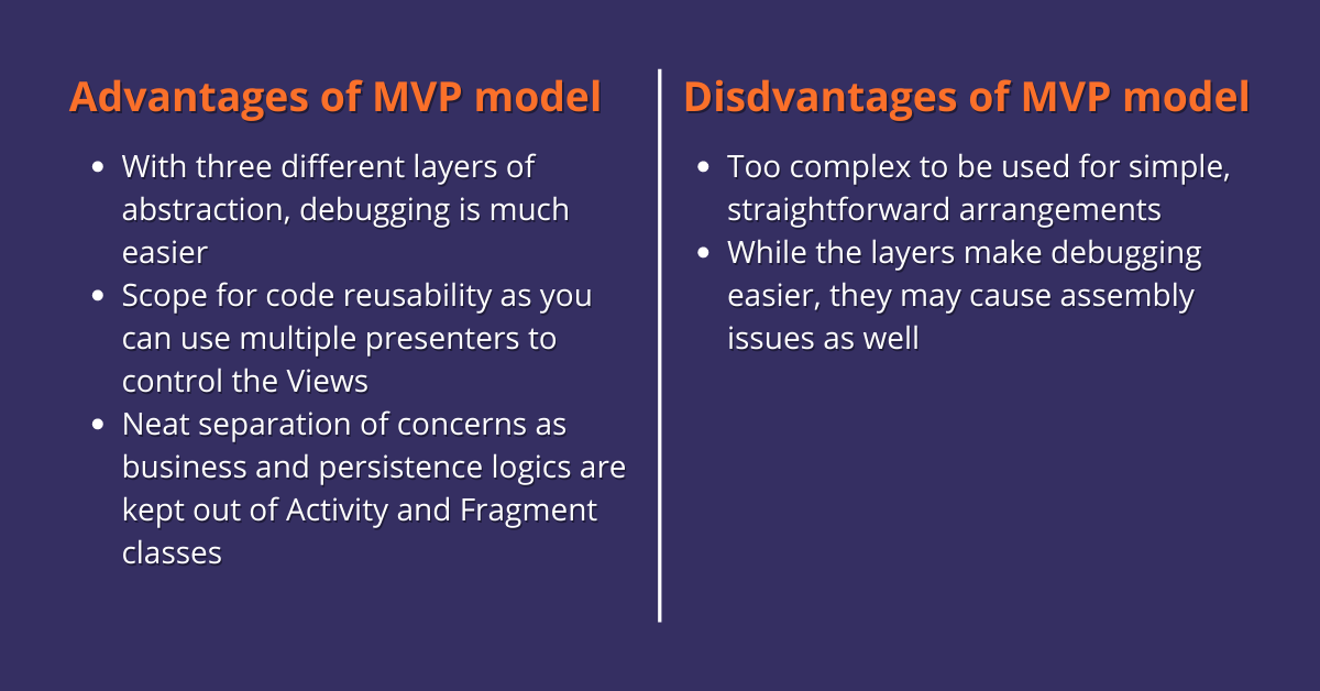 Advantages and disadvantages of MVP model