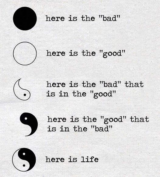 Image may contain: text that says 'here is the 'bad' here is the 'good' here is the 'bad' that is in the 'good' here is the 'good' that is in the 'bad' here is life'