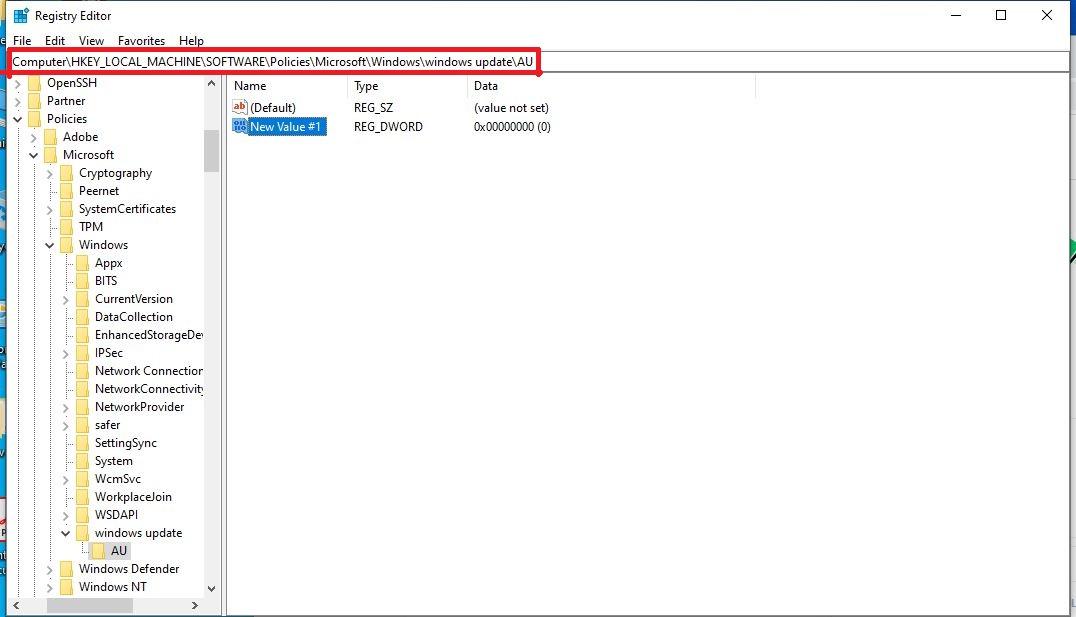 Add new value in registry editor