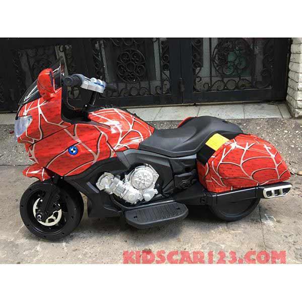 Moto điện trẻ em CX6066 màu đỏ sọc trắng