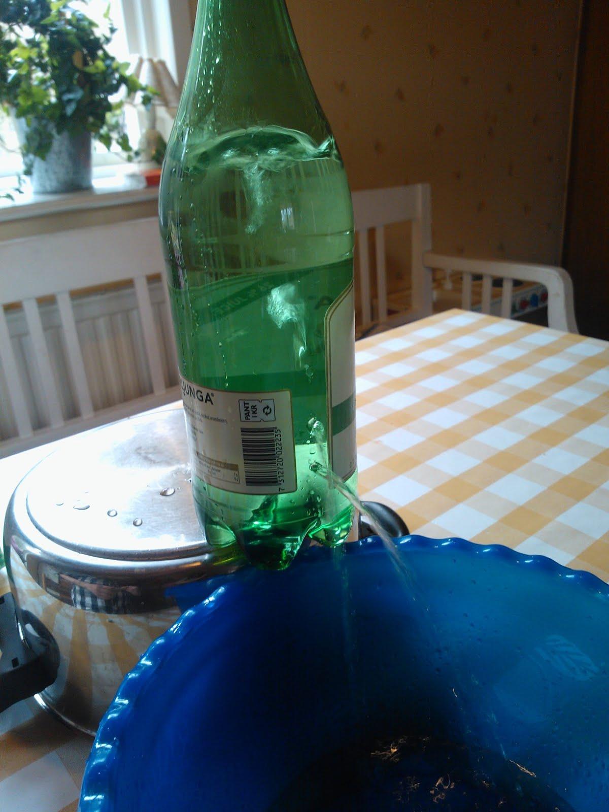 ecf8687f085 Vår hypotes är nu att det inte ska rinna ut något vatten, eftersom det  endast är vatten i flaskan och ingen luft. Översta hålet ...