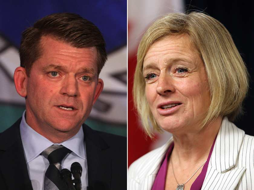 On the left, Wildrose leader Brian Jean. On the right, Premier and Alberta NDP leader Rachel Notley