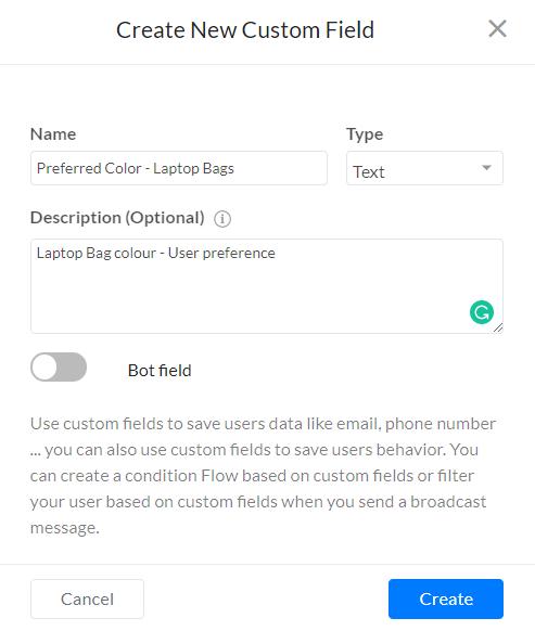 Create new custom field in Silfer Bots