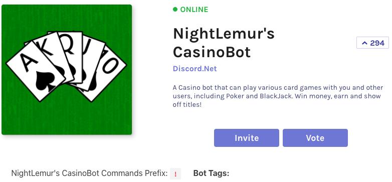 nightlemur's casinobot is a popular discord gabmling bot
