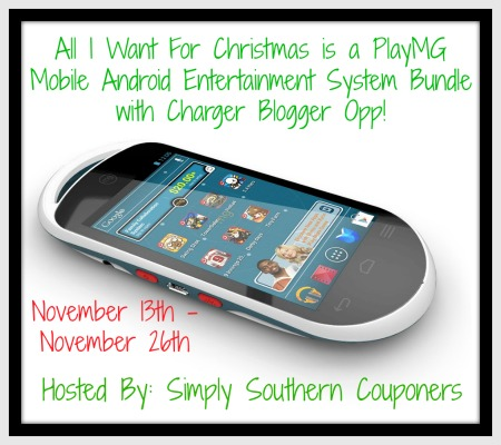 Sign up for the All I Want For Christmas is a PlayMG Mobile Android Entertainment System Bundle with Charger event. Starts 11/13.