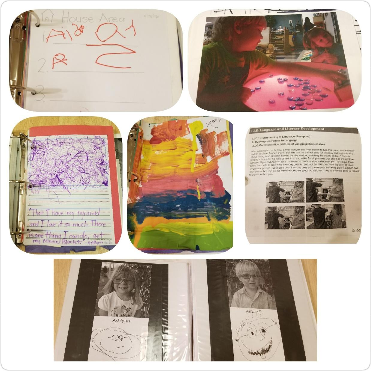 Items from a child's portfolio, including writing, artwork, and pictures.